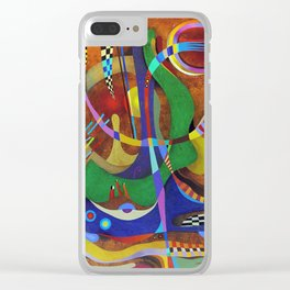 Painting abstract climbing in the mountains Clear iPhone Case
