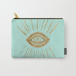 Evil Eye Gold on Mint #1 #drawing #decor #art #society6 Carry-All Pouch