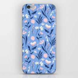 Floral Blue Pattern iPhone Skin
