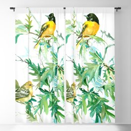 Baltimore Oriole Birds and White Oak Tree Blackout Curtain