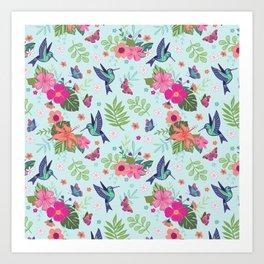 Hummingbird Repeat Art Print