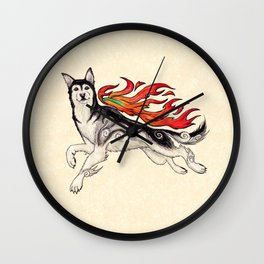 Marukomu Inukami ~ Ōkami inspired husky dog, watercolor & ink, 2015 Wall Clock