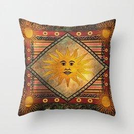 Sun Hippie Bohemian Vintage Festival Retro Throw Pillow