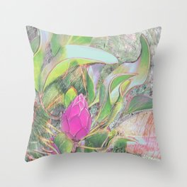 Protea Sketching in Bright Lights Throw Pillow