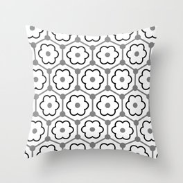 Floral Graphene - White - Gray - Black Throw Pillow