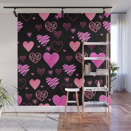 Beautiful watercolor illustration Seamless pattern with red watercolor hearts. Background romantic d Wall Mural
