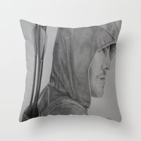 green arrow Throw Pillows featuring Arrow by Brooke Shane