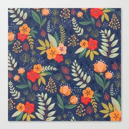 Navy Floral Canvas Print