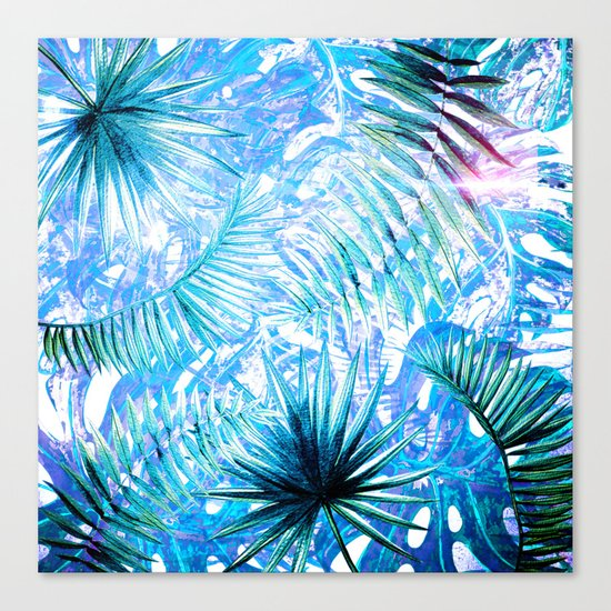 Aloha- Blue abstract Tropical Palm Leaves and Monstera Leaf Garden Canvas Print