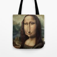 mona lisa Tote Bags featuring Mona Lisa by Alexander Novoseltsev