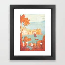 Italy, Cinque Terre Vintage Travel Poster Framed Art Print