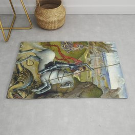 Saint George and the Dragon Oil Painting by Rogier van der Weyden Rug