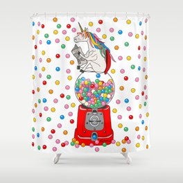 Unicorn POOP Gumballs Shower Curtain