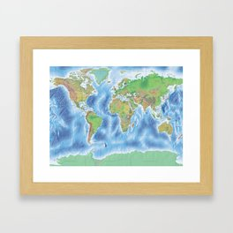 Physical world map with countries Framed Art Print