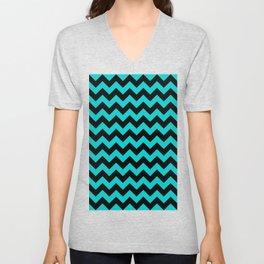 Black and Cyan Horizontal Zigzags Unisex V-Neck