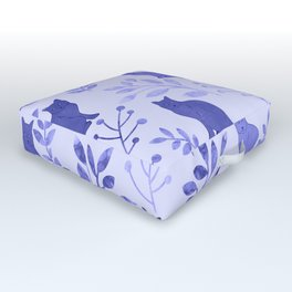 Watercolor Floral and Cat VII Outdoor Floor Cushion