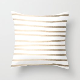 Simply Drawn Stripes in White Gold Sands Throw Pillow