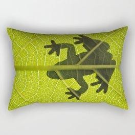 Frog on leaf against backlight Rectangular Pillow