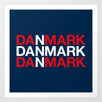 denmark Art Prints featuring DENMARK by eyesblau