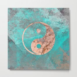 Yin Yang - Rose Turquoise Marble Metal Print