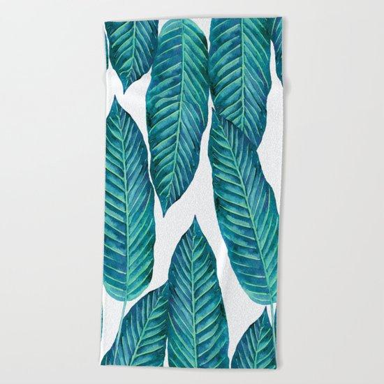 Blue Banana Leaves #society6 Beach Towel