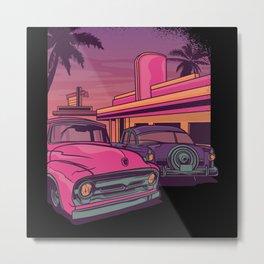 Retro Car US Diner Metal Print