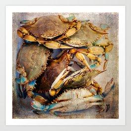 Blue Crabs Art Print