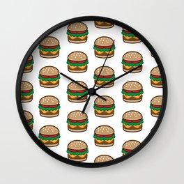 Cheese burger Pattern Wall Clock