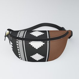 Southwestern Black with faux leather texture Fanny Pack