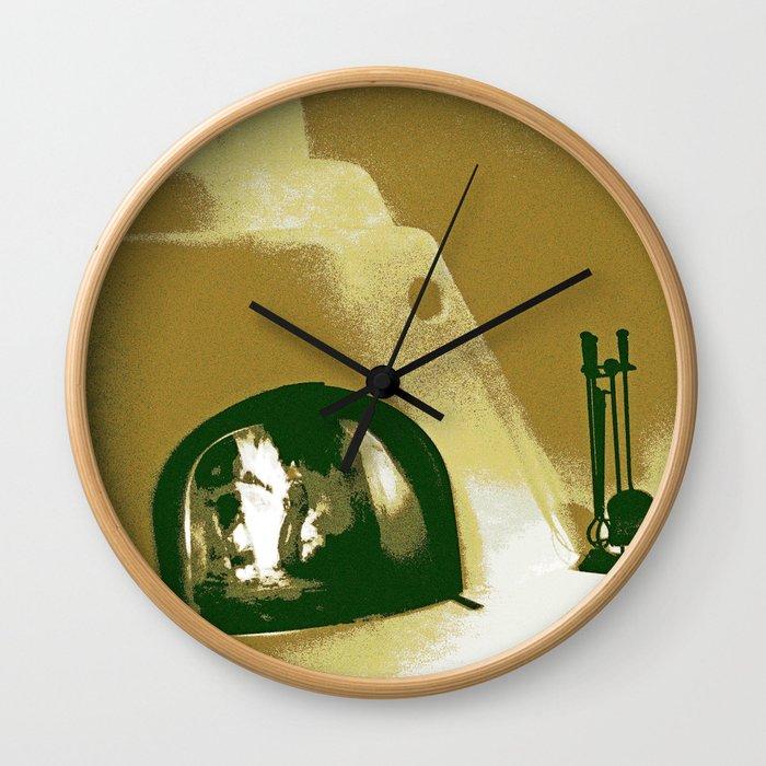 Kiva Fireplace Two Wall Clock