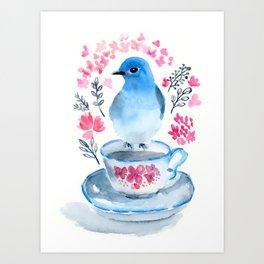 Bluebird Comes for Tea Art Print