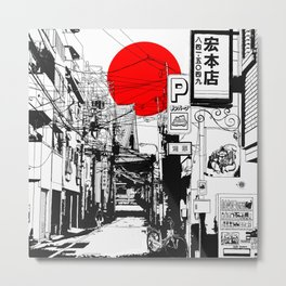 Tokyo street sunrise Metal Print