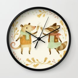 Cheers! From Pinknose the Opossum & Riley the Raccoon Wall Clock