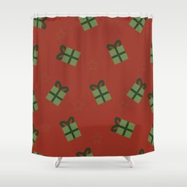 Gifts and stars - red and green Shower Curtain