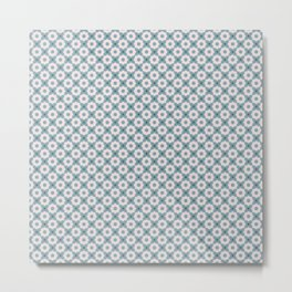Daisy Pattern on Teal Metal Print