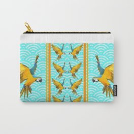 GOLD & BLUE TROPICAL MACAWS VERTICAL ART Carry-All Pouch