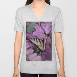 Monarch on Rhododendron Unisex V-Neck