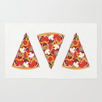 christian Area & Throw Rugs featuring PIZZA POWER - VEGO VERSION by Daisy Beatrice