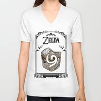 the legend of zelda V-neck T-shirts featuring Zelda legend - Kokiri shield by Art & Be