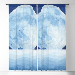 Full moon & paper boat Blackout Curtain