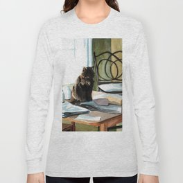 Cat on a Table With Light Coming Through a Window Long Sleeve T-shirt