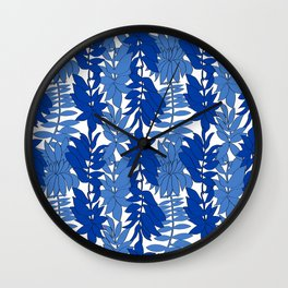 60's Chinoiserie Vines in White + Blue Wall Clock