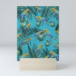 Parrots in the Tropical Jungle #2 #tropical #decor #art #society6 Mini Art Print