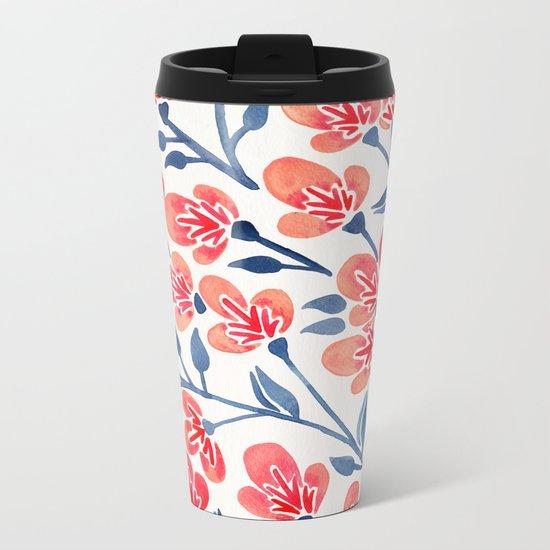 Cherry Blossoms – Melon & Navy Palette Metal Travel Mug