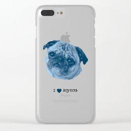 I love my dog - Pug, blue Clear iPhone Case