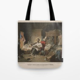 President Lincoln, writing the Proclamation of Freedom (January 1st, 1863) Tote Bag