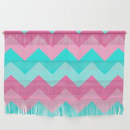 Hot Pink Turquoise Aqua Blue Chevron Zigzag Pattern Print Wall Hanging