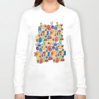 monster Long Sleeve T-shirts featuring Monster Faces Pattern by Chris Piascik