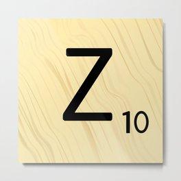 Scrabble Z Initial - Large Scrabble Tile Letter Metal Print