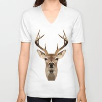 low poly V-neck T-shirts featuring Low Poly Deer by Nick Seils